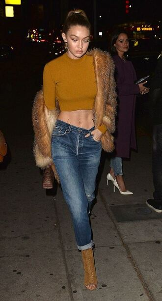 top crop tops mustard fur boots jeans gigi hadid fur coat booties shoes ankle boots brown boots brown booties tan beige
