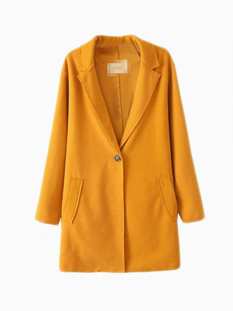 Yellow Wool Longline Coat | Choies