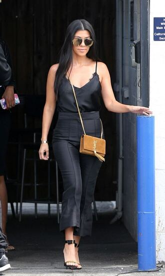 top camisole all black everything sandals pants kourtney kardashian kardashians sunglasses tank top all black  outfit