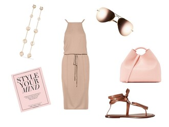 the simply luxurious life blogger jewels dress shoes bag sunglasses nude dress pink bag sandals pink sunglasses