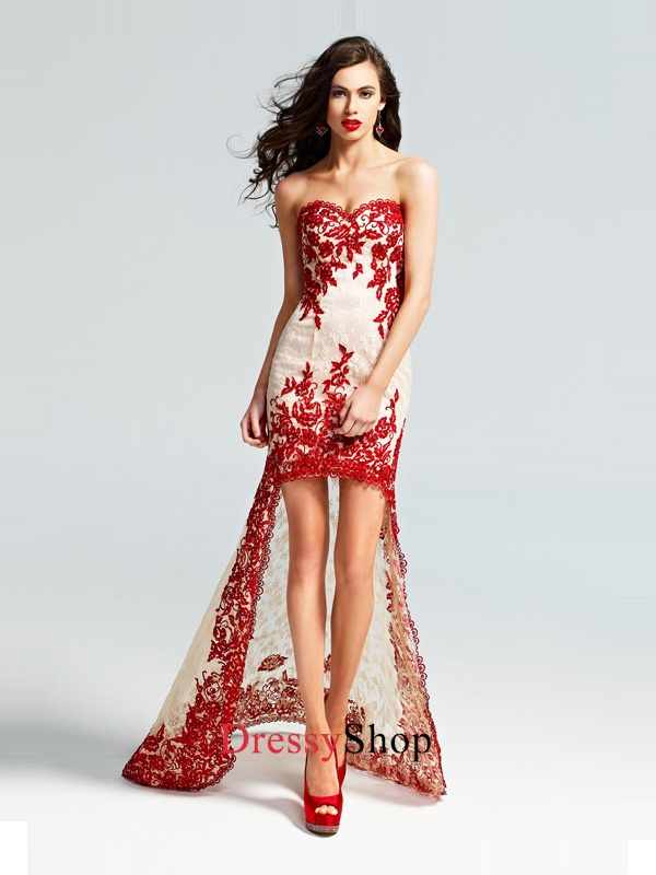 Gorgeous High Low Strapless Sweetheart Red Lace Appliques Prom Dress PD11396