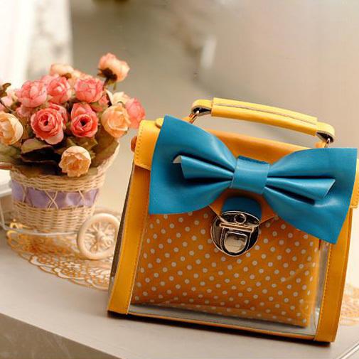 [grhmf22000103]Candy Dot Print Bowknot Handbag Shoulder Bag
