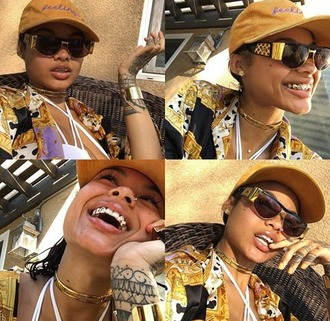 jewels india westbrooks all gold everything gold mouthpiece gold grillz versace vintage sunglasses nose ring smiles young wild earrings lashes necklace bracelets tattoo spanish jawn foreign pool side rare california girl beauty