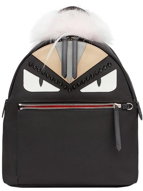 Fendi fur fox women spandex backpack leather cotton black bag