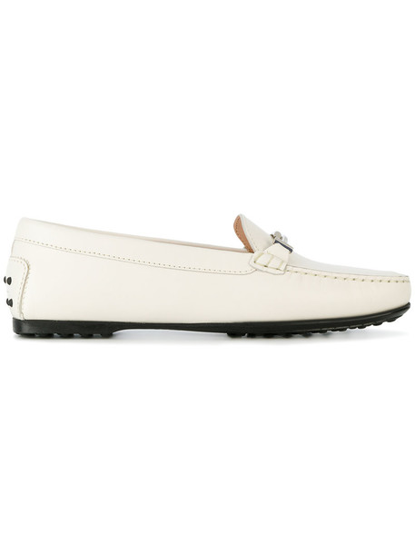 TOD'S women loafers leather white shoes