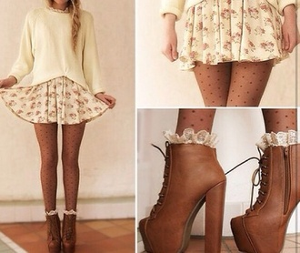 cream jumper cute style tumblr outfit pretty little liars jeffrey campbell shoes skirt tights