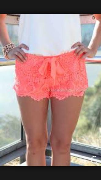 shorts coral lace shorts