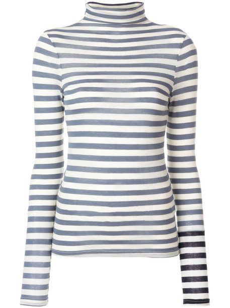 Semicouture - striped turtleneck sweater - women - Cotton/Wool - XS, Blue, Cotton/Wool