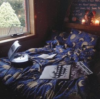 dress stars moon blue bedding sleep bedroom yellow dark blue galaxy print shorts jewels accessories bedazzled underwear moon and sun sun moon and stars sheets bohemian quilt pattern hippie