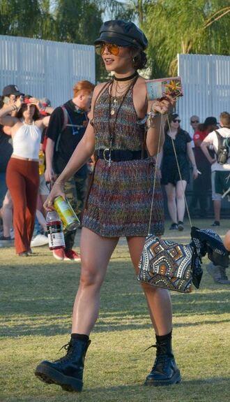 dress mini dress backless boots coachella festival music festival hat sunglasses