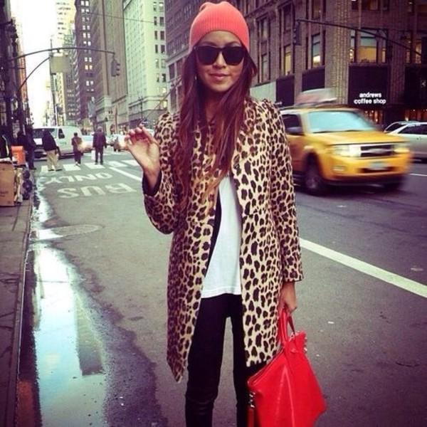 coat leopard print beanie