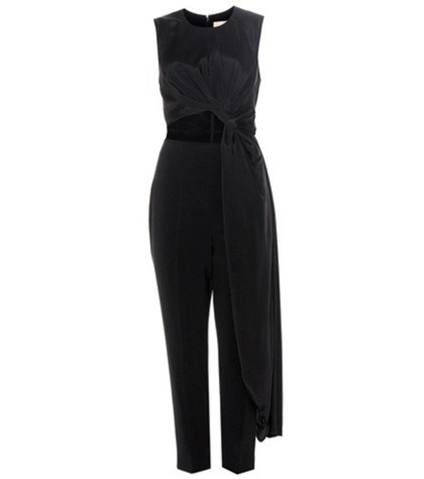 Roksanda Thurloe Cut-out Jersey And Crêpe Jumpsuit in black
