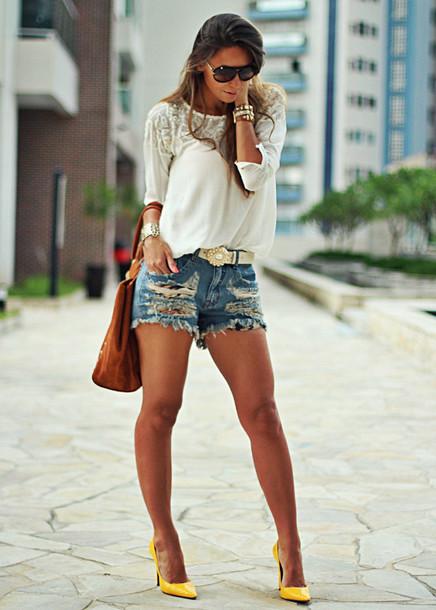 decor e salto alto shorts blouse bag belt jewels