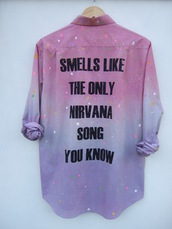 nirvana,grunge,dip dyed,tie dye,purple,smells like the only nirvana song you know,blouse,nirvana t-shirt,shirt,jacket,top,90s style,rainbow