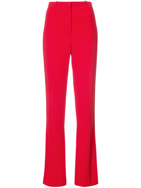 Givenchy - tailored straight leg trousers - women - Spandex/Elastane/Viscose - 38, Red, Spandex/Elastane/Viscose