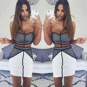dress,black,white,cut-out,mesh,strapless,short,bodycon,tight,mini dress