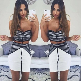 dress black white cut-out mesh strapless short bodycon tight mini dress