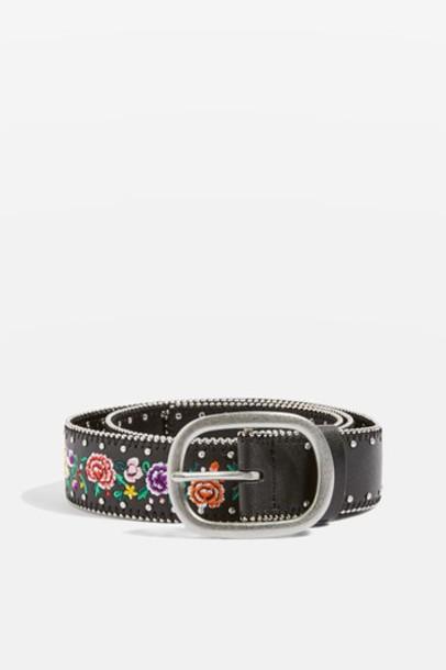 Topshop embroidered belt floral black