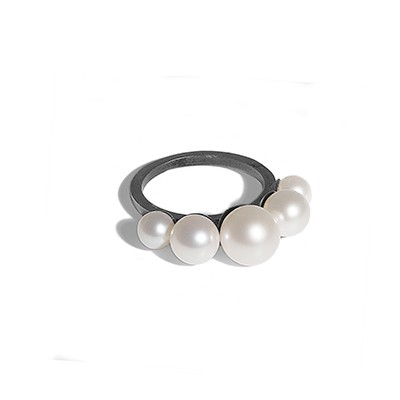 Perle diadem ring sort rhodium sølv - Rhodineret Sølv - Ringe