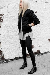 jacket,tumblr,black jacket,bomber jacket,black bomber jacket,pants,black pants,black leather pants,leather pants,top,grey top,boots,black boots,ankle boots,studded shoes,watch,silver watch,shoes