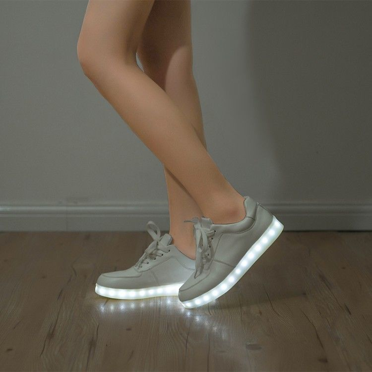 Womens Fashion Flat Shoes Lace Up Sneaker LED Light Chargable Gladiator US4.5-8
