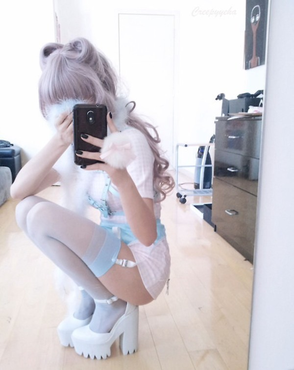 shoes blue cute suspenders pink powder puff pastel kawaii black shorts jewels blouse pants high heels platform pumps white heels