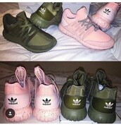shoes,tubular,sneakers,adidas,pink,army green
