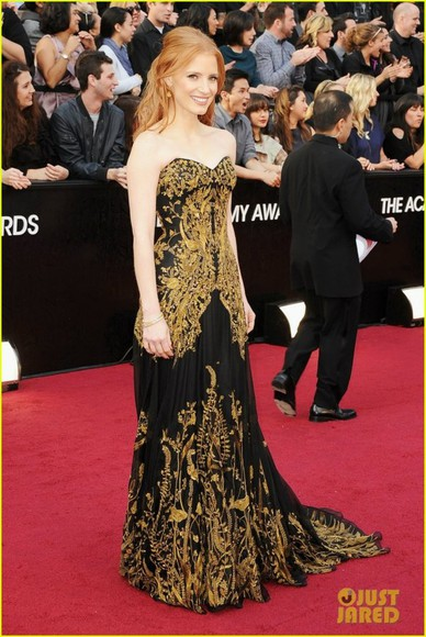 dress red carpet oscar golden dress hollywood actress designer dress