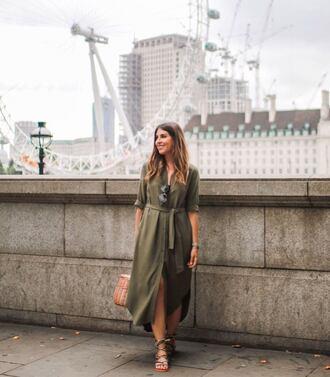 dress green dress sunglasses tumblr midi dress shirt dress sandals flat sandals bag basket bag shoes