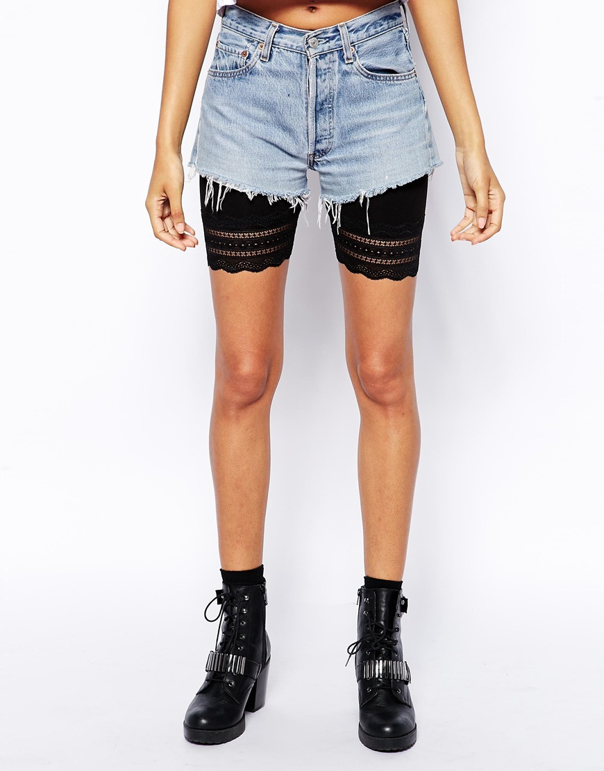 ASOS Legging Shorts with Lace Hem at asos.com