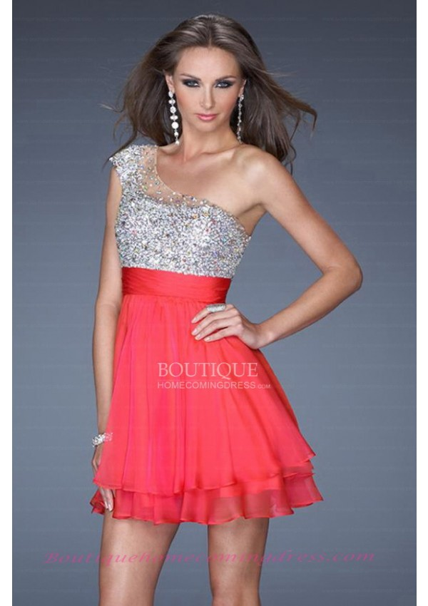 Line red chiffon side zipper homecoming dress