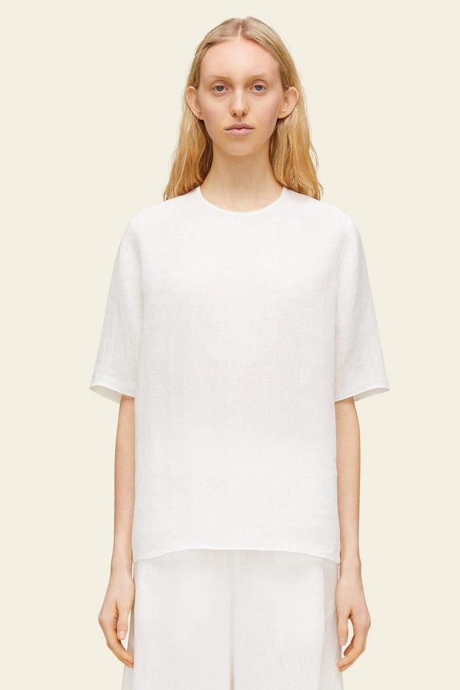 Mansur Gavriel Linen Short Sleeve Blouse - White