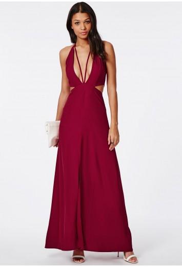 Bella red chiffon strappy maxi dress red