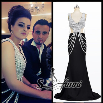 evening dress black dress pearl dress mermaid prom dress backless dress dress maxi dress saudi arabia dubai