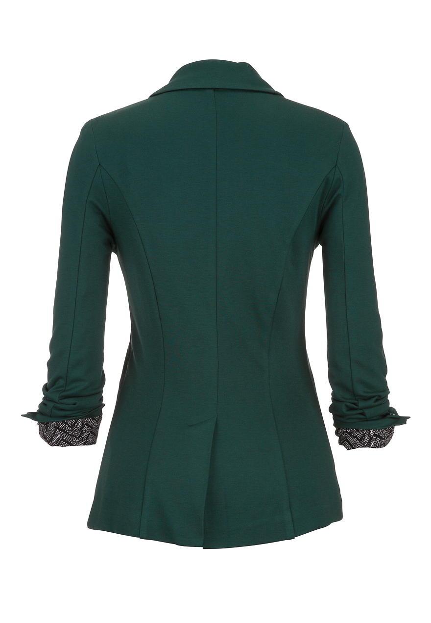 Green chevron cuff knit blazer