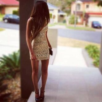 dress homecoming gold sequin