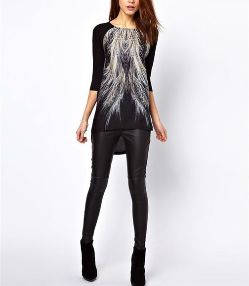t-shirt half-sleeved half sleeves shirt high-low asos zara black t-shirt black shirt black and white t-shirt black and white shirt feathers feather peacock peacock pattern Peacock black and white women women's