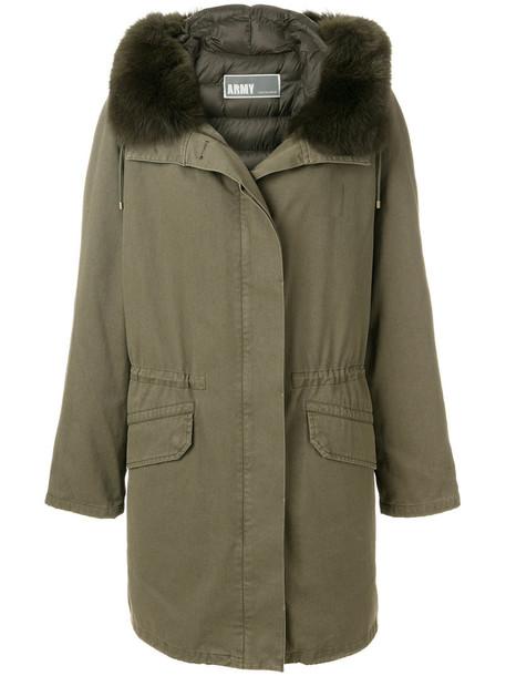 Army Yves Salomon coat feathers fur fox women cotton green
