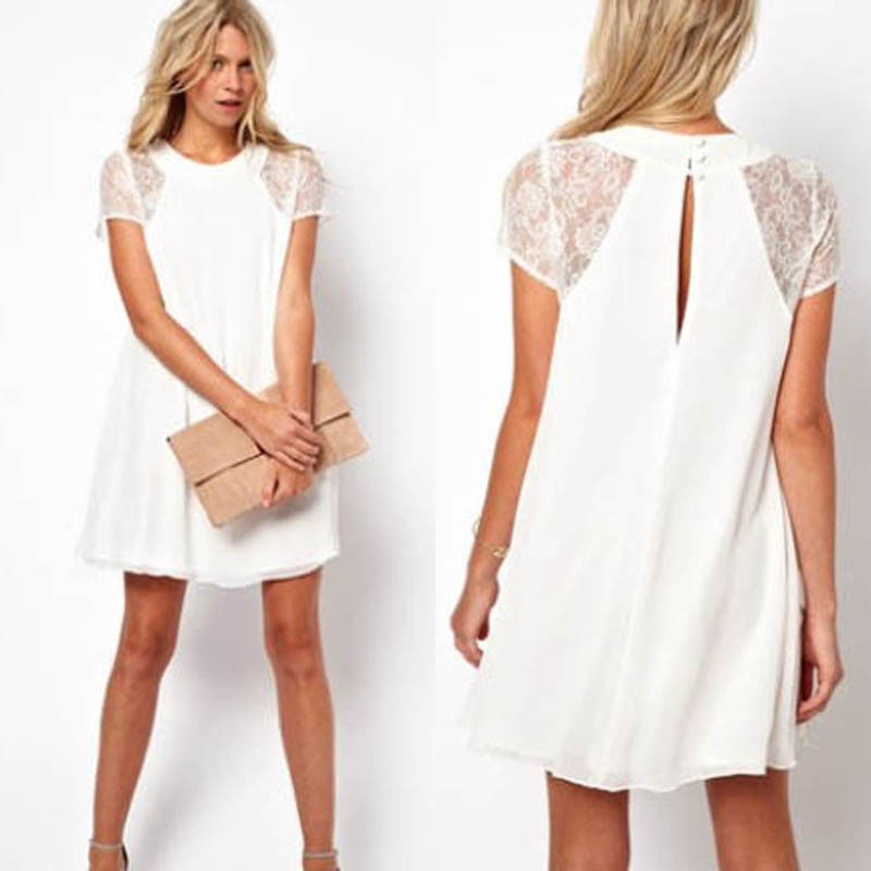 Fashion Casual Women Chiffon Swing Dress Lace Sheer Insert Sleeve Mini Dress Top | eBay