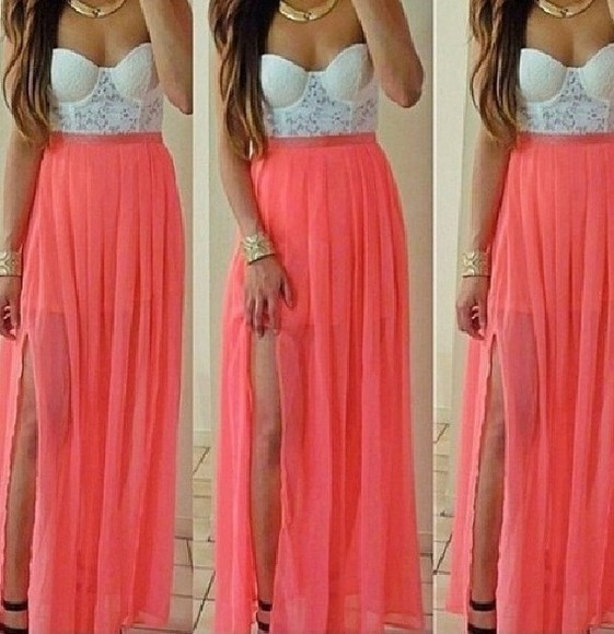 dress white lace pink dress chiffon beautiful
