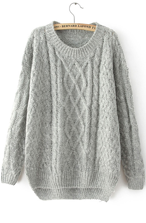 Grey Long Sleeve Cable Knit Loose Sweater - Sheinside.com