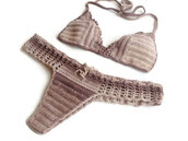 swimwear,bikini,brazilian bikini,brazilian,brown dress,beige,summer,sexy,women swimsuit,bandeau bikini,beach,2014 summer,summer outfits,fashion,lace,crochet bikini,crochet