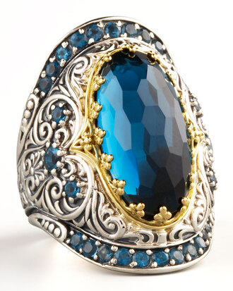 jewels konstantino ring blue topaz topaz yellow gold gold silver blue topaz ring