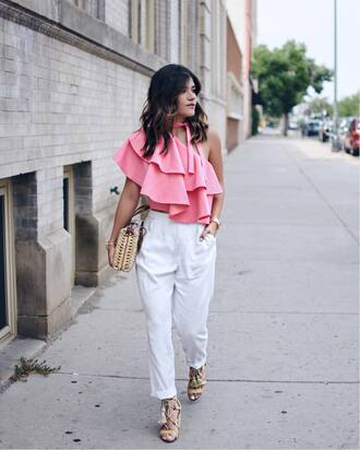 top ruffled top tumblr pink top asymmetrical ruffle pants white pants sandals sandal heels high heel sandals bag shoes