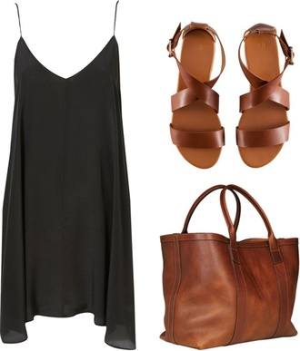 dress black flowy shoes bag v neck black dress sandals brown leather brown brown shoes leather sandals leather tote bag brown leather bag brown leather tote genuine leather bag leather bag blouse need the bag and shoes tan leather belt brown hobo bag black dress with straps shirt black tank top purse pinterest pinterest outfit