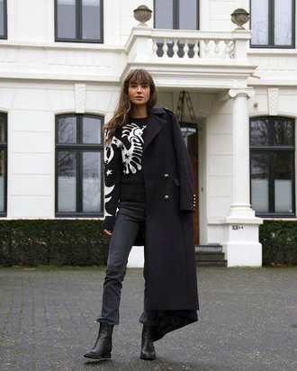 sweater tumblr knit knitwear knitted sweater denim jeans black jeans coat black coat black long coat long coat boots