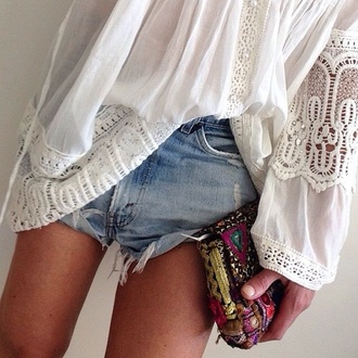 blouse bag boho gypsy denim shorts white lace crochet clutch indie shirt floral sheer flowy t-shirt top cute purse summer style outfit hippie details summer outfits hippie chic shorts crochet top cute top summer top pretty long sleeves vintage bohemian beach cotton short shorts jeans denim