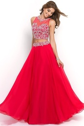 dress,red dress,red,red prom dress,red carpet dress,2 piece prom dress,2 piece skirt set,maxi dress,skirt,top,prom dress,prom,silver,pattern,sexy,sexy dress,nightwear,hot,heels,high heels,sleeveless,red sleveless,cool,metallic,make-up,queen