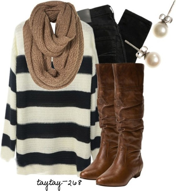 sweater boots scarf sweet dress shoes oversized sweater stripes black and white black white knit knitted scarf tan high heeled boots denim jeans pearl pearl earrings winter outfits fall outfits brown leather boots earrings winter sweater fall sweater striped sweater sandals strappy flats leather sandals summer accessories