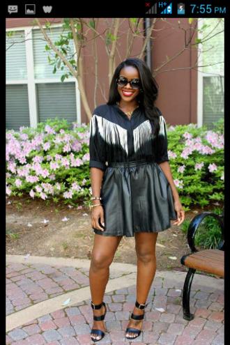 black white blouse fringes skirt red cute dress pattern gold dye mini